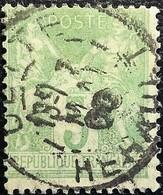 France N°102 Sage 5c. Vert-jaune. Oblitéré Hérault - 1876-1878 Sage (Type I)