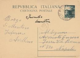 Borgo Di Montoro Inferiore. 1949. Annullo Frazionario ( 6 - 158), Su Cartolina Postale Con Testo - 6. 1946-.. Repubblica