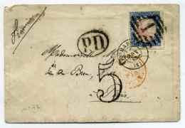 LSC De MADRID + Entrée En France Espagne Par St Jean De Luz / Aff YT N°74 Seul Sur Lettre / Taxe TDT 5c /1863 - Marcophilie (Lettres)
