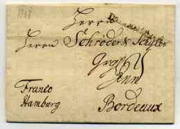 Lettre De COPENHAGUE Avec Marque De Transit D'ALLEMAGNE + Franco Hamburg Manuscrit / 1748 - 1701-1800: Précurseurs XVIII