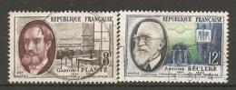 Yv. N° 1095,1096 (o)   8f, 12f  Savants   Cote  1,3 Euro BE - France