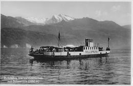 AUTO-FÄHRE BECKENRIED-GERSAU → Tolle Foto Mit Fähre Voller Oldtimer, Ca. 1940 - SZ Schwyz