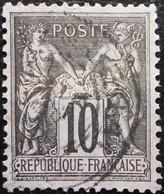 France N°89 Sage 10c. Noir Sur Lilas. Oblitéré - 1876-1898 Sage (Type II)