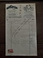 Oude Faftuur  T. S . F .  J. BRACONNIER  1929 Met Fiscale Zegel - Belgique