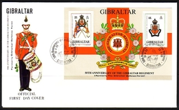 GIBRALTAR BLOCK 12 FDC REGIMENTSWAPPEN UND FAHNEN - Gibraltar