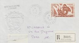 Enveloppe  Recommandée   T.A.A.F    Oblitération    MARTIN  DE  VIVIES   ST  PAUL   AMS    1974 - Terres Australes Et Antarctiques Françaises (TAAF)