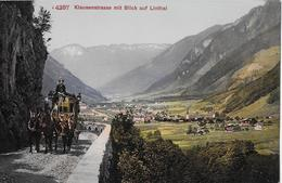 KLAUSENSTRASSE → Postkutsche Oberhalb Linthal, Ca.1920 - GL Glaris