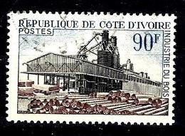 COTE D'IVOIRE 276° 90f Bleu, Noir Et Brun-lilas Industrialisation Industrie Du Bois (10% De La Cote + 015) - Côte D'Ivoire (1960-...)