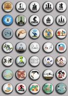 35 X Chess Fan ART BADGE BUTTON PIN SET 3 (1inch/25mm Diameter) - Badges