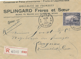 757/27 -  Lettre Recommandée TP 1915 1 Franc MONS Vers LANGNAU Suisse - Entete Splingard , Fromages , Conserves , Pates - 1915-1920 Albert I