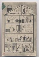 INTÉRIEUR D'UN IMMEUBLE BOURGEOIS - Ca 1910 - Vue De Chaque étage - COUPE TRANSVERSALE -  Appartements - Animée - Cartes Postales