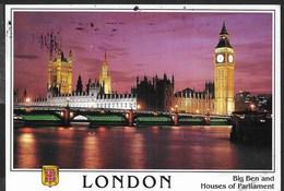 U.K. - LONDON - HOUSE OF PARLIEMENT - VIAGGIATA 2001 FRANCOBOLLO ASPORTATO - Houses Of Parliament