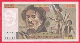 """100 Francs """"Delacroix"""" 1980 ---Fayette -F69 (04a)- Série E.24  - -VP/SUP - 1962-1997 ''Francs''"""