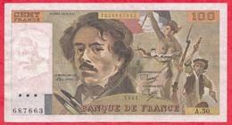 """100 Francs """"Delacroix"""" 1981 ---Fayette -F69 (05)- Série A.50  - -F/TTB+ - 1962-1997 ''Francs''"""