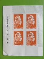 Timbre France - Coin Daté - Marianne D'Yseult Digan - L'engagée - Autocollant - 1 € Orange - Neuf - 2018 - YT N° 1600 - Coins Datés