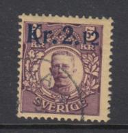Sweden 1917 - Michel 108 Y Used, Inverted Crown Watermark - Sweden