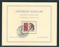 GEDENKBLATT 200. Geburtstag Friedrich Schiller MiNr. 190 Ersttagsstempel MARBACH 10.11.59 Auflage 7500 Nr. 5342 - [5] Berlin