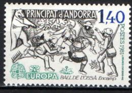 ANDORRA FRANCESE - 1981 - EUROPA: FOLCLORE - FRANCOBOLLO CON PIEGA - MNH - Andorra Francese