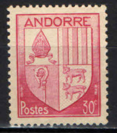 ANDORRA FRANCESE - 1944 - STEMMA - COAT OF ARMS - FRANCOBOLLO CON PIEGA - MNH - Andorra Francese