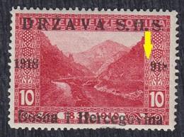 Yugoslavia State SHS Bosnia 1918 Definitive, Error - 918 Instead 1918 In Overprint, MH (*) Michel 3 - Non Dentelés, épreuves & Variétés