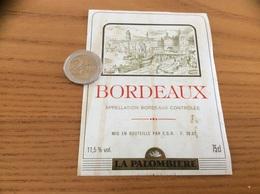 Etiquette De Vin « BORDEAUX - LA PALOMBIÈRE» (ancre, Voilier, Port) - Bordeaux