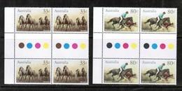 AUSTRALIA   Scott # 984-7** VF MINT NH GUTTER BLOCKS Of 4  LG-915 - Blocks & Sheetlets