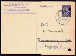 Germany Deutsches Reich Koslin 1943 / Postkarte Postal Stationery Hitler 6 / Einlieferungsschein Sigmaringen - Deutschland