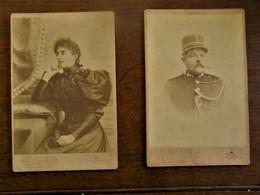 Twee Stuks Antieke Foto's  H.  Liégois CAPITAINE De GENDARMERIE à MONS - Photographs
