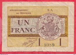 1 Franc Chambre De Commerce De Péronne Du 2707/1920  Dans L 'état (48) - Chambre De Commerce