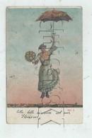 Slonim (Biélorussie, Oblitération Russe) : GP D'une Femme Volant Avec Son Parapluie Au-dessus De La Ville En 1908 PF - Cartes Postales