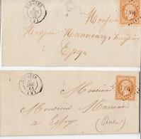 """N° 13 ( TYPE 1 & 2 Margés) / 2 L  De PC 1204 De ESSOYES Les 21.12.61 & 6.6.62  / Au Départ Des Boites Rurales """"B & C """" - - Marcophilie (Lettres)"""