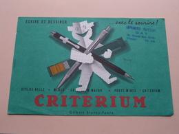 CRITERIUM Ecrire Et Dessiner ( +/- 13,5 X 21 Cm. ) Buvard ( Voir Photo ) Voir Stamp : Gay Sens Yonne ! - Blotters