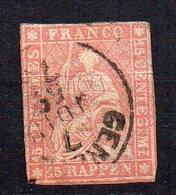1854 Svizzera Helvetia Unificato N. 28  15 R Rosa Timbrato Used - 1854-1862 Helvetia (Non Dentellati)