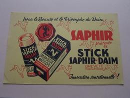 SAPHIR Présente Le STICK SAPHIR-DAIM ( +/- 13,5 X 21 Cm. ) Buvard ( Voir Photo ) ! - Textile & Vestimentaire