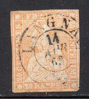 1854 Svizzera Helvetia Unificato N. 29  20 Arancio Timbrato Used - 1854-1862 Helvetia (Non Dentellati)