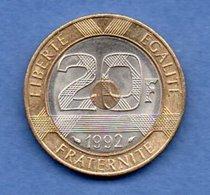20 Francs 1992 V Fermé  --  état SUP - France