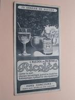 Ricqlès L'Alcool De Menthe ( +/- 11,5 X 21,5 Cm. ) Buvard Moullot Marseille ( Voir Photo ) ! - Liqueur & Bière
