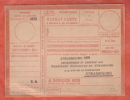 FRANCE FORMULE MANDAT NEUVE DE 1924 DE STRASBOURG - Other