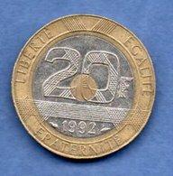 20 Francs 1992 V Ouvert   --  état  TTB - L. 20 Francs