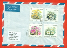 Malta 2001. The Envelopes Passed Mail. Airmail. - Roses