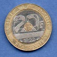 20 Francs 1992 V Ouvert   --  état  SUP - L. 20 Francs