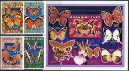 Burkina Faso 1996. Michel #1410/13+2 Klb-A+B+Bl.#170 MNH/Luxe. Butterflies. (Ts02) - Burkina Faso (1984-...)