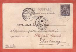 SAINT PIERRE ET MIQUELON N°63 SUR CARTE DE 1903 POUR CHERBOURG FRANCE - St.Pierre Et Miquelon