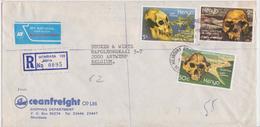 Kenya Mombasa Enveloppe Lettre Affranchissement Timbre Homo Erectus Paléontologie Origins Of Mankind Skull Stamp - Kenya (1963-...)