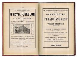 LA BOURBOULE : Guide Touristique édité En 1889. Reliure D'époque. Carte. Nombreuses Réclames Locales. Voir 8 Photos. - Auvergne
