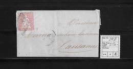 1854-1862 SITZENDE HELVETIA Ungezähnt (Strubel)  → Porrentruy Nach Lausanne SBK-24B - Lettres & Documents
