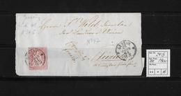 1854-1862 SITZENDE HELVETIA Ungezähnt (Strubel)  → Franco Genf Nach Zürich  SBK-24G/B4 - 1854-1862 Helvetia (Non-dentelés)