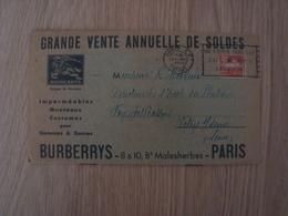 DOCUMENT PUBLICITAIRE  BURBERRYS PARIS - Publicités