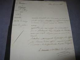 LETTRE SIGNEE DE J.H.J. LAINE 1818 DEPUTE BORDEAUX PREFET GIRONDE ENNEMI NAPOLEON MINISTRE NEGRIER ACADEMIE NANCY - Autographs