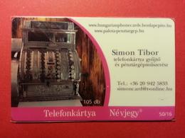 HUNGARY - 105 Db VISIT CARD Simon Tibor Barangolo Telefonkartya 50/16 - 2007 - MINT (FA0718) - Hongrie